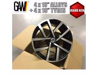 """ALL NEW 18"""" TYRES + VW GOLF R ALLOYS WHEELS R32 GTD GTI 5X112 - ( ASK FOR DELIVERY )"""