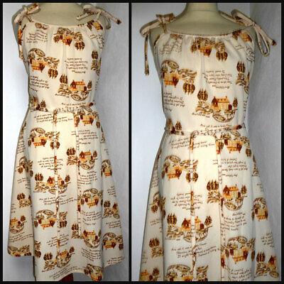 VINTAGE 60S 70S NOVELTY POETRY MIS PRINT TIE SHOULDER SUN DRESS UK 16