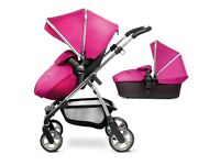 Silver cross Pioneer raspberry pram with carrycot