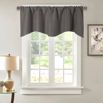 Solid Color Window Panel Valance Kitchen Cafe Short Curtain Rod Pocket -