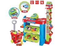 Supermarket stand with shopping cart trolley Playset