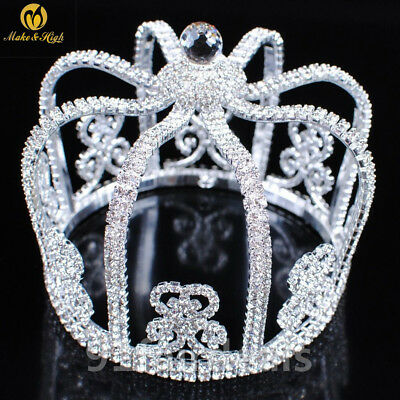 10cm High King Crystal Rhinestones Crowns Wedding Pageant Costume Hair Accessory - Costume King Crowns