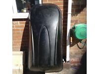 Large halfords roof box with 2 keys, 4 mounting clamps and straps.