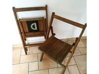 2x Military Wooden Campagian Chairs