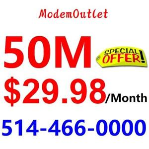 Unlimited Internet $29.99/month with FREE wireless AC modem . Please call or SMS 514-466-0000 to order