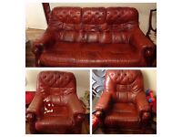 3 seater lether sofa and 2 armchairs (with drawers)