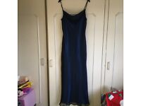 Long dress size 14 Royal blue with black nylon overlay