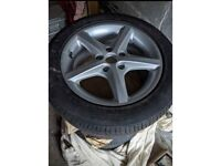 4 x Five stud alloy wheels and tyres