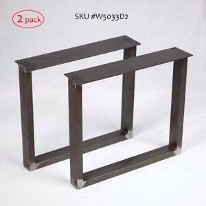 Raw Steel table & bench legs, U or X shape metal tubing, cast iron base, gas pipe table frame