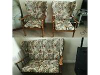 Chair set. Gorgeous two seater with two matching armchairs. Vintage retro