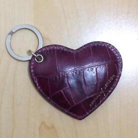 Aspinal of London Keyring Key Fob Heart Door Keys Ring Purple Croc Bag Leather Valentines Gift