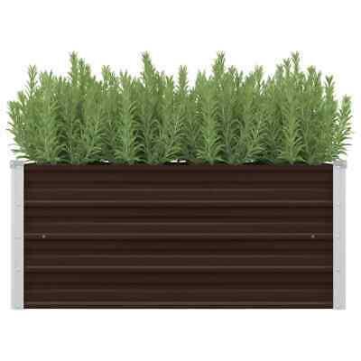 vidaXL Garden Planter Brown 100x40x45cm Galvanised Steel Planter Flower Box