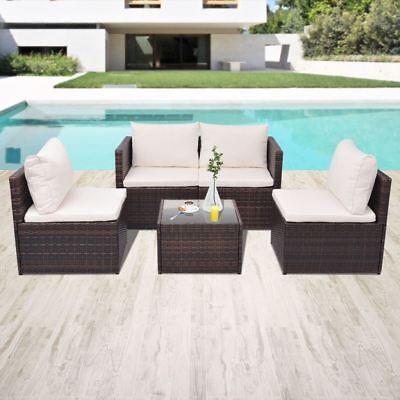 Garden Furniture - vidaXL Garden Sofa Set 13 Piece Poly Rattan Wicker Brown Outdoor Furniture