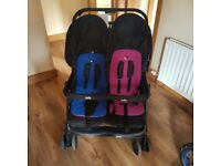 Baby clear out: Joie Aire double pram,Cot,Maxi cosi car seat ad base ,adapters and Angel monitor