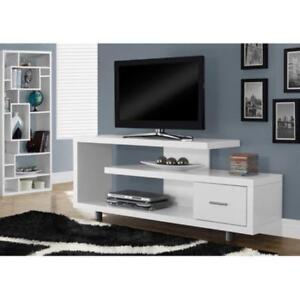 60 TV Stand Console Shelves Drawer Table Entertainment Wood Modern Gloss White - BRAND NEW - FREE SHIPPING