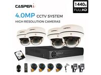 5 IN 1 CCTV Dome Camera System Kit with 4CH HD DVR, 4.0MP 4 Cameras & 1TB HDD