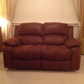 2 Seater double action recliner sofa, faux Suede, chocolate colour, as new
