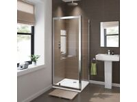 BRAND NEW 760mm x 760mm Pivot Glass Shower Enclosure Screen with Side Panel