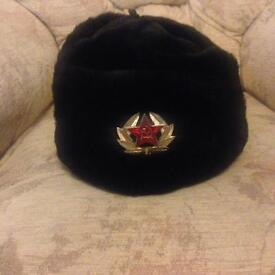 Russian Trapper Hat with Soviet Badge