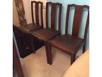 Vintage oak 4 dinning room chairs 1940s with seat pad