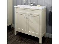 800mm Melbourne Clotted Cream Double Door Vanity Unit - Floor Standing