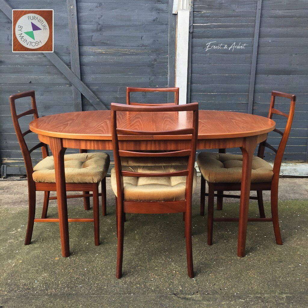Vintage Mid Century Modern 1970s Mcintosh Of Kirkcaldy Extendable Dining Table Chairs