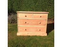 SOLID PINE CHEST OF DRAWERS IN NATURAL FINISH