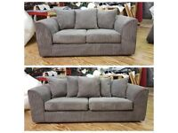 NEW 3 & 2 SEATER SOFA SET IN GREY JUMBO CORD....INC' MEMORY FOAM IN SEATING CUSHIONS.. ONLY £269.99