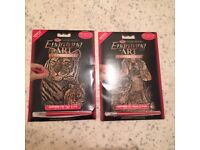 """Two Copper Foil Engraving Art Kits 5""""X7"""" Kitten and puppy"""" plus """"Tiger and cub"""", NEW"""