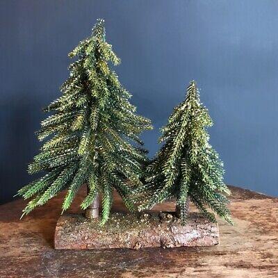 Par Artificial Imitación Pino Abeto Navidad Árboles, Mini Pequeño Rústico Brillo
