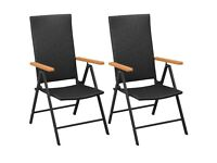 Stackable Garden Chairs 2 pcs Poly Rattan Black-42798