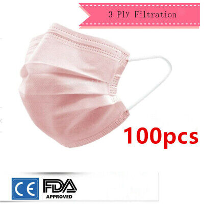 100pcs Adults Disposable Mask Premium Face Nose Filter Industry Face Mask - Pink