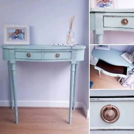 Vintage Console Table Hallway Lounge Shabby Chic Duck Egg Blue Upcycled Painted Furniture