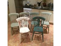 6 wooden painted dining chairs usable but in need of some attention.
