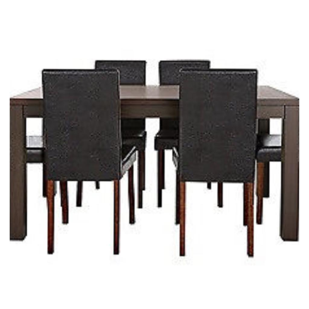 Walnut table and 4 Chocolate leather Walnut Leg chairs dining set
