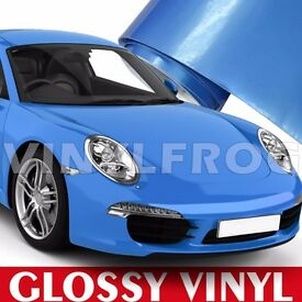 GLOSS BLUE CAR WRAP ALL PURPOSE VINYL STICKER SHEET AIR-BUBBLE FREE