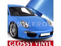GLOSS BLUE CAR WRAP ALL PURPOSE VINYL STICKER SHEET AIR-BUBBLE FREE