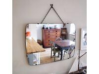 1960's mirror. vintage mirror. mirror on chain. old mirror. hall mirror. retro mirror. wall mirror