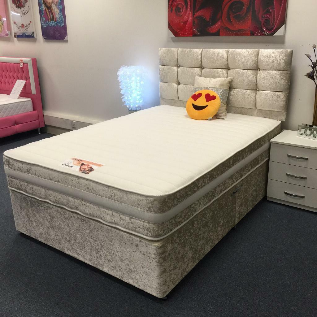 Brand new divan crush velvet grey bed with diamond for New double divan bed