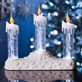 Spinning LED Glitter Candle Trio - White