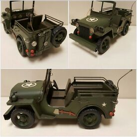 Large Green Army Military Metal Jeep tin Model collectable by Lesser and Pavey