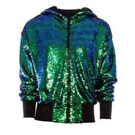 Sequin two tone green shiny mermaid bomber jacket, as new, size 8 (original RRP £45!)