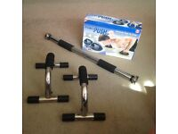 Exercise equipment. Pull up bar, push up bars and brand new and boxed power push up set.