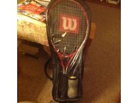 Wilson Tennis Racket in Case with Two Balls