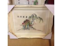 TWO LOVELY EMBROIDERED CHINESE PICTURES - EXCELLENT CONDITION