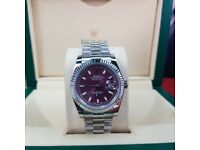Complete Package silver strap purple face ceramic bezel Rolex Datejust automatic sweeping