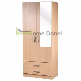 **14-DAY MONEY BACK GUARANTEE!**- 2 Door Ready Built Wardrobe - 3 Door Available - SAME DAY DELIVERY