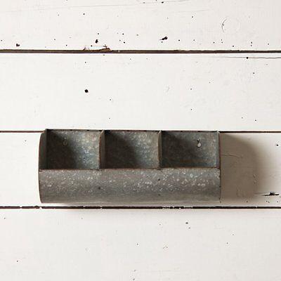 Farmhouse Galvanized Metal Triple Divided Trough Shelf~Bins~Wall Pocket