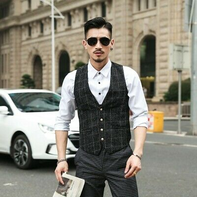 Black Suit For Party (Black White Check Tweed Men Suit Vest Slim Fit Wedding Prom Party for)