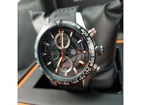 New boxed with papers Rubber bracelet black dial tag heuer CARRERA H01 sweeping chronograph watch